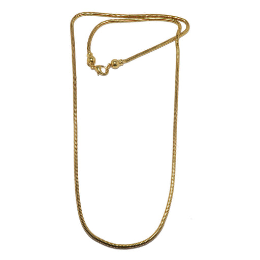 Brass Chain Gold-Plated Thick Snake Necklace Shiny Removable End
