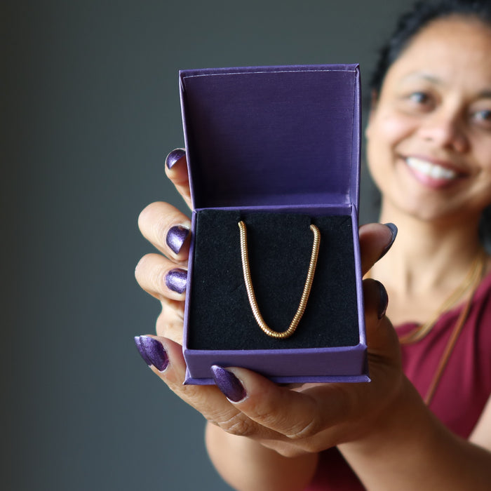 gold plated brass snake chain necklaces in purple gift box