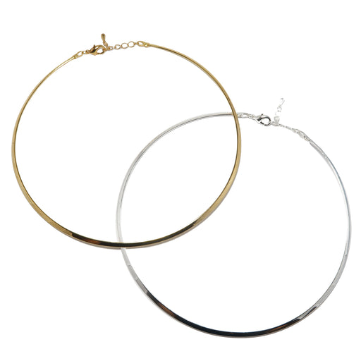 Brass Choker Set of 2 Gold & Silver Pair Neckwire Necklace Pair for Pendants