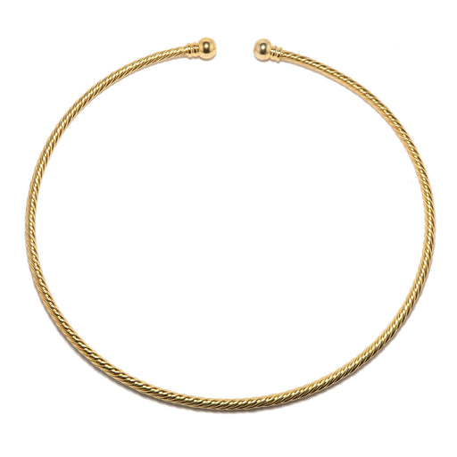 gold plated brass twist choker necklace