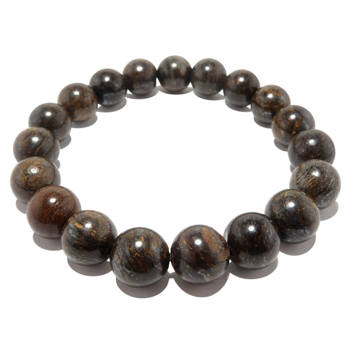 round bronzite beads with a brown, golden, bronze luster on a stretch bracelet