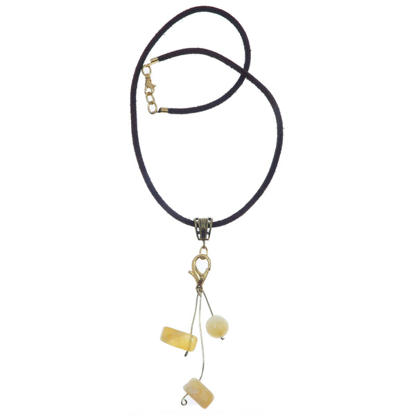"Calcite Necklace 19"" Specialty One-of-Kind Playful Yellow Stone Gold Brown Leather S01"
