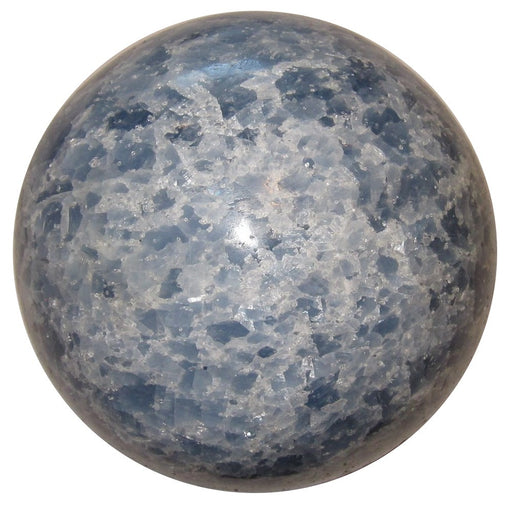 crackly blue and white calcite ball