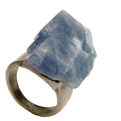 raw blue calcite stone on antiqued silver ring