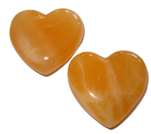 "Golden Calcite Heart Pair Love Happiness Soulmate Set Best Friends Stone P02 (2"")"