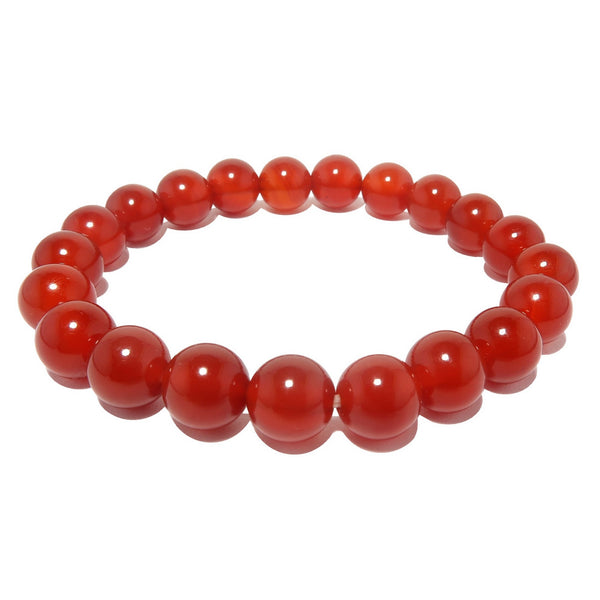 Carnelian Bracelet 7mm Boutique Blazing Red Gemstone Round Stretch Handmade B01