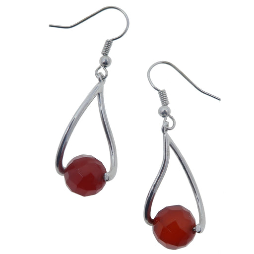 "Carnelian Earrings 1.8"" Sparkling Faceted Red Crystal Healing Stones Party Style Dangle"
