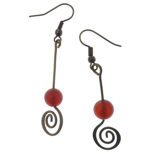 "Carnelian Earrings 2.3"" Fiery Red Orange Spiral Healing Stone Antiqued Crop Circle Dangle B01"