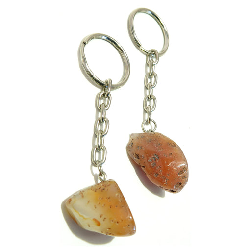 "Carnelian Keychain Set 3.5"" Collectible One-of-Kind Orange Stone Geode Rock Pair 02z"