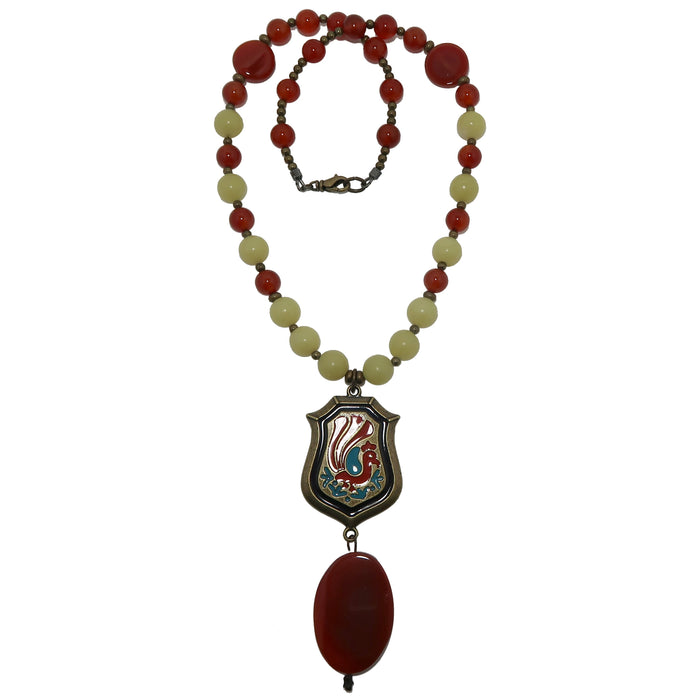 Carnelian Necklace Peacock Pride Statement Jewelry with Serpentine