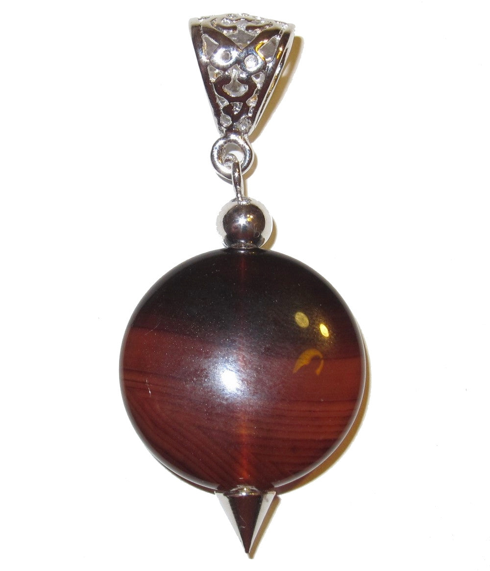 "Carnelian Pendant 2.2"" Round Red Orange Crystal Intuitive Healing Guidance Stone Silver 02"
