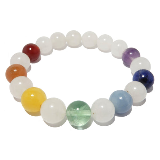 white snow quartz and natural rainbow chakra stone stretch bracelet beaded with genuine round gemstones