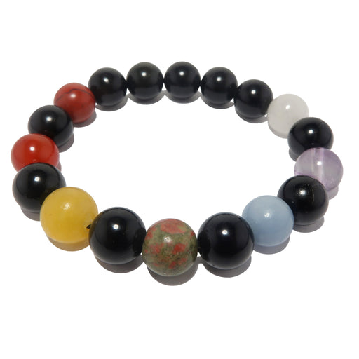 rainbow obsidian and natural chakra stone stretch bracelet beaded with round gemstones, handmade at satin crystals boutique