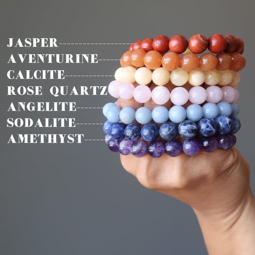 set of 7 chakra bracelets with amethyst, sodalite, angelite, rose quartz, calcite, aventurine and red jasper