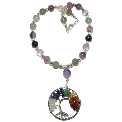 rainbow fluorite chakra tree of life necklace