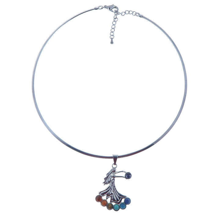 Chakra Necklace Angel of Giving Spiritual Gifts Silver Choker