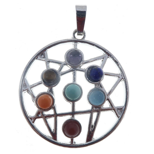round silver pendant with web design set with 7 chakra gemstones