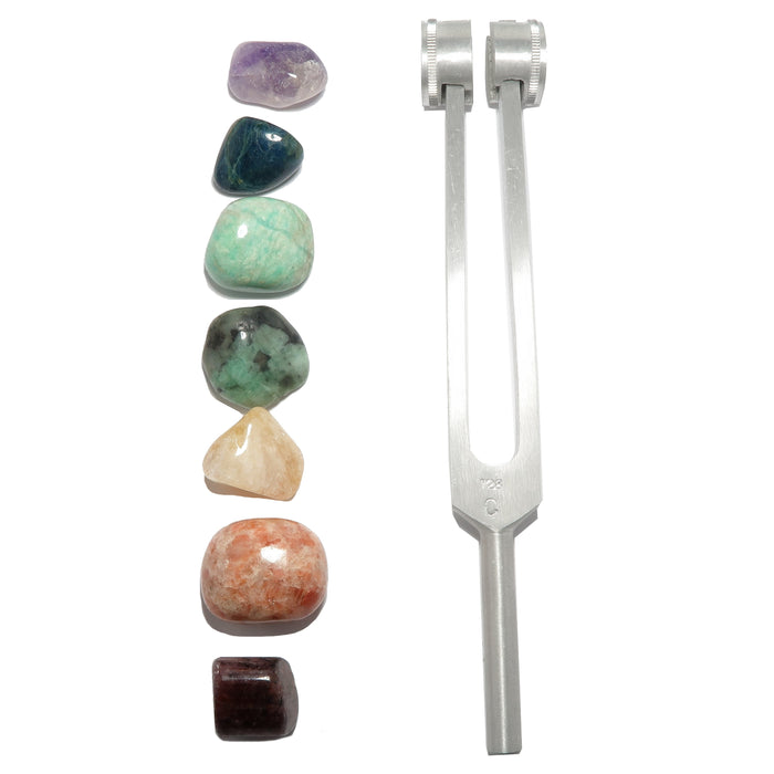 7 chakra stones and tuning fork set