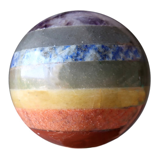 chakra sphere layered with purple amethyst, blue aventurine, blue lapis, green aventurine, yellow citrine, orange moonstone, red jasper