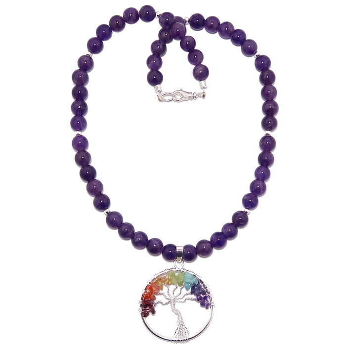 Amethyst Chakra Necklace Tree of Life Rainbow Beaded Purple Balancing Stones