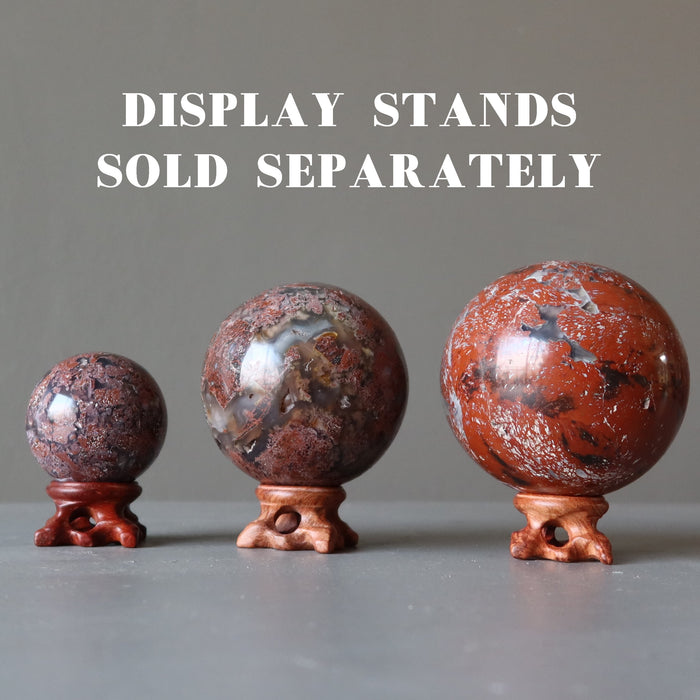 3 chalcedony jasper crystal balls on fancy wood display stands, which are sold separately