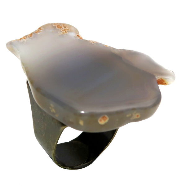 "Chalcedony Ring 5-11"" Specialty Gray Chunky Adjustable Antiqued Bronze S01"