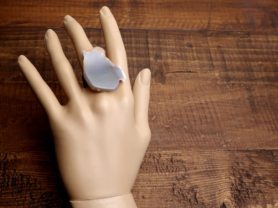 Chalcedony Ring Specialty Gray Chunky Adjustable Antiqued Bronze