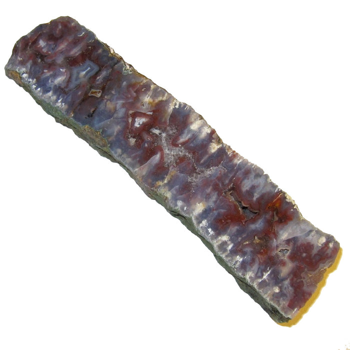 "Chalcedony Slice Polished Stone 6"" Collectible Big Blue Red Purple Wand Slab Pretty Crystal Energy Healing C54"