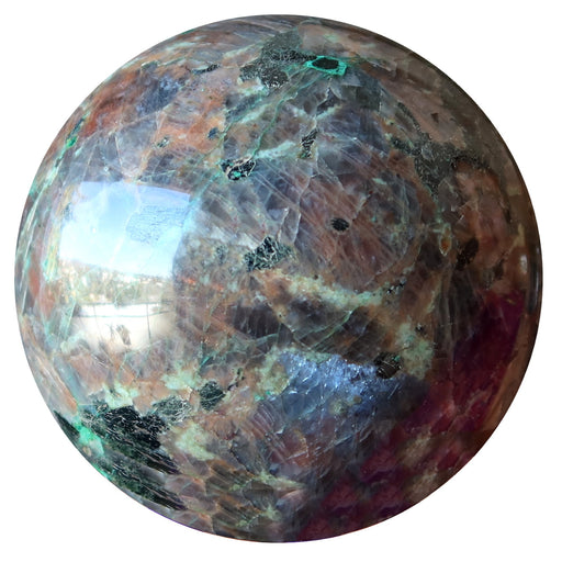 black and silver chalcocite sphere with mica, chrysocolla and feldspar inclusions