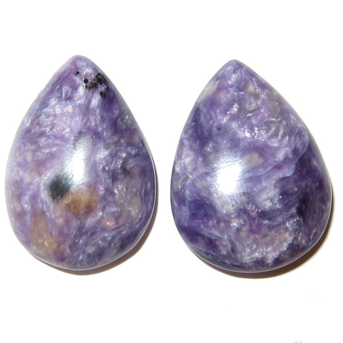Charoite Cabochon Collectible Teardrop Stones Russian Gemstone Pair