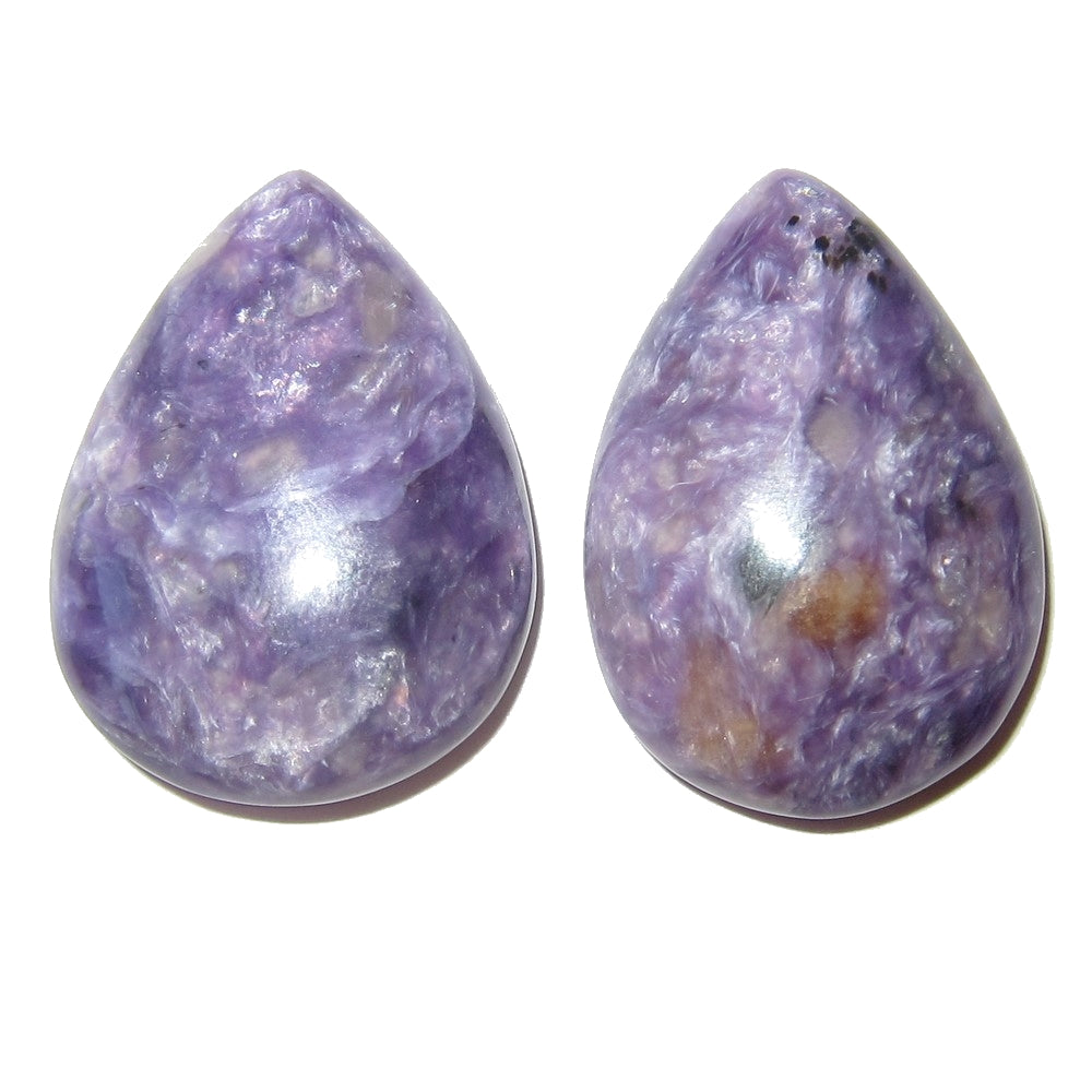 "Charoite Cabochon 1.1"" Collectible Drop Stone Pair of Russian Char Gemstones C10"