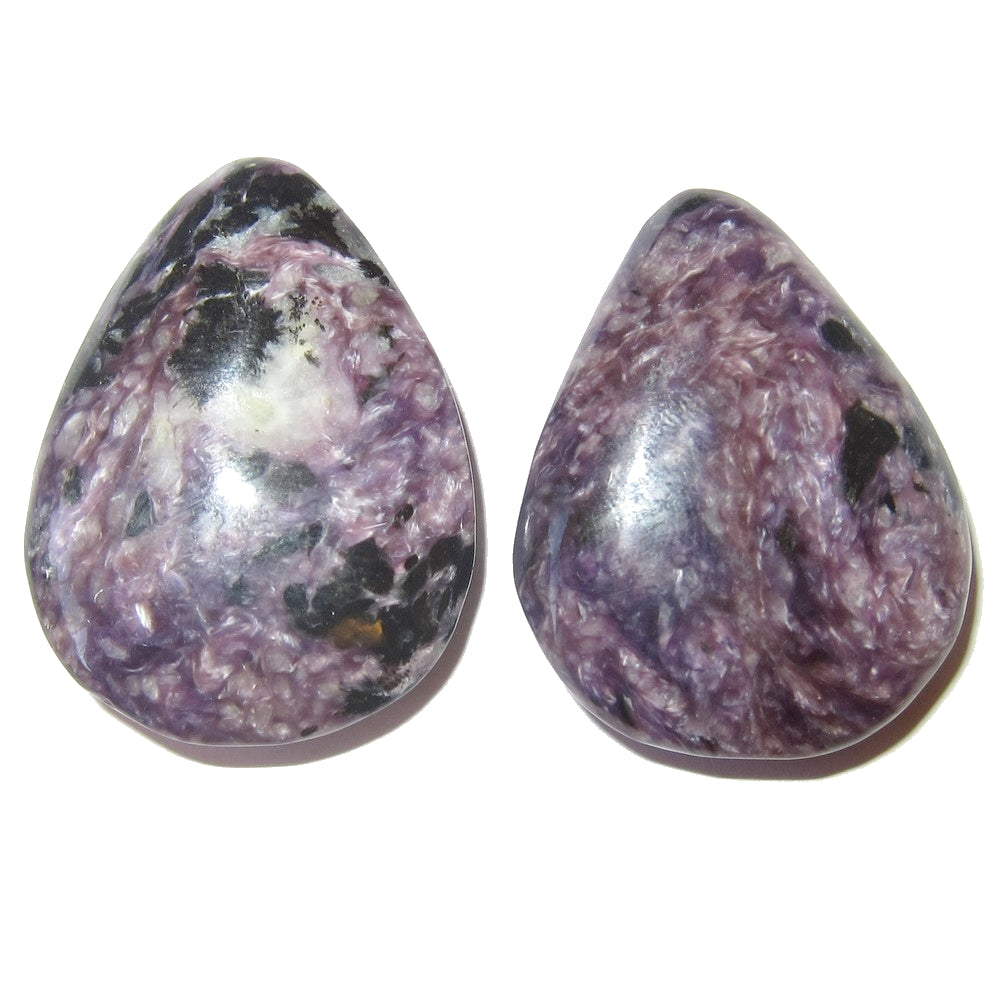"Charoite Cabochon 1.4"" Collectible Drop Stone Pair of Purple Black Spirit C12"