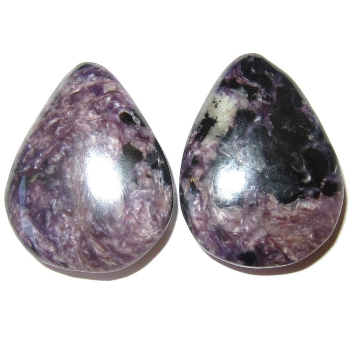 Charoite Cabochon Drop Dark Purple Stone Black Crystal Healing Set