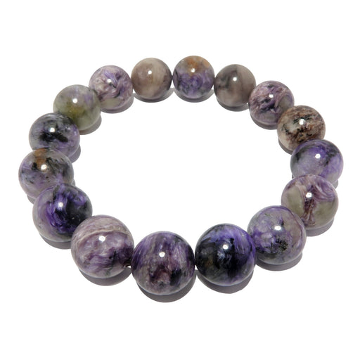 Charoite Bracelet 11mm Deluxe Marbled Purple Gemstone Statement Round Stretch