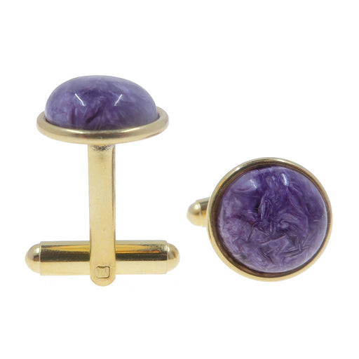 Charoite Cufflinks Gold 12mm Genuine Purple Gemstone