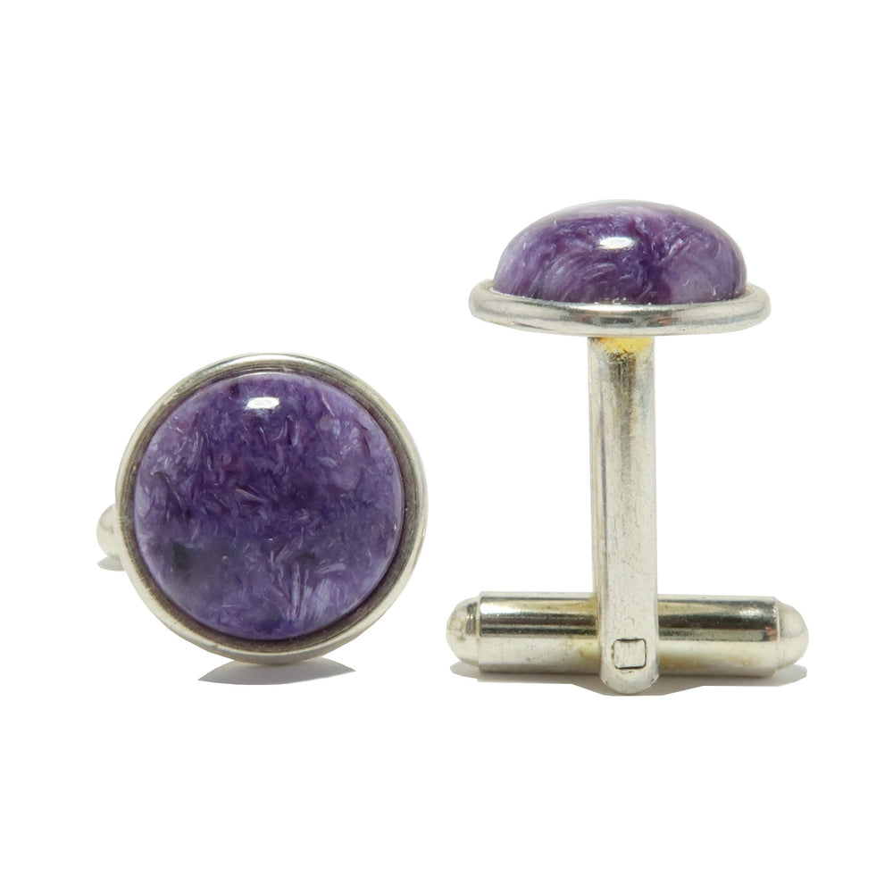 Charoite Cufflinks Silver 12mm Genuine Purple Gemstone