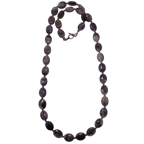 Charoite Necklace - Boutique Purple Black Swirl Oval Beaded Crystal B01