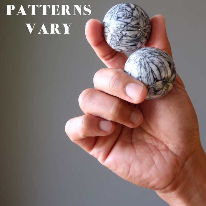 hand holding two chrysanthemum stone spheres to show varying patterns