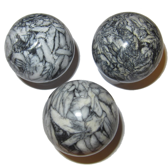 Three Flower Stone spheres from an elite Satin Crystals collection