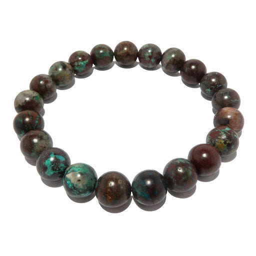 blue chrysocolla and reddish brown cuprite round beaded stretch bracelet