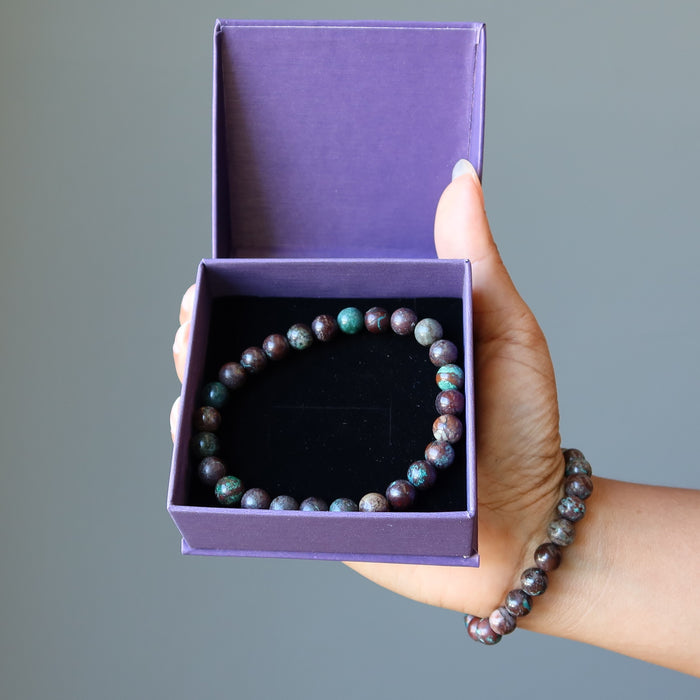 Chrysocolla Cuprite Bracelet 7mm Round Stretch Gemstone