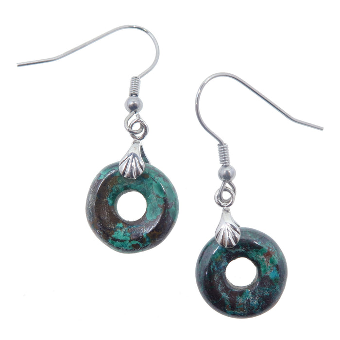 "Chrysocolla Earrings 1.5"" Donut Stone Blue Earth Crystal Healing Round Goddess Stone 03"