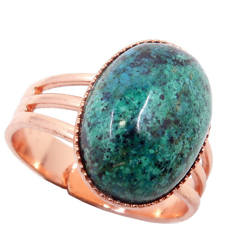 blue-green and black chrysocolla oval in copper ring