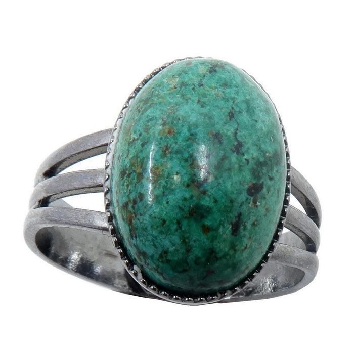 blue green and black chrysocolla oval in gunmetal adjustable ring