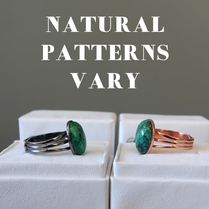 two chrysocolla rings showing natural patterns vary