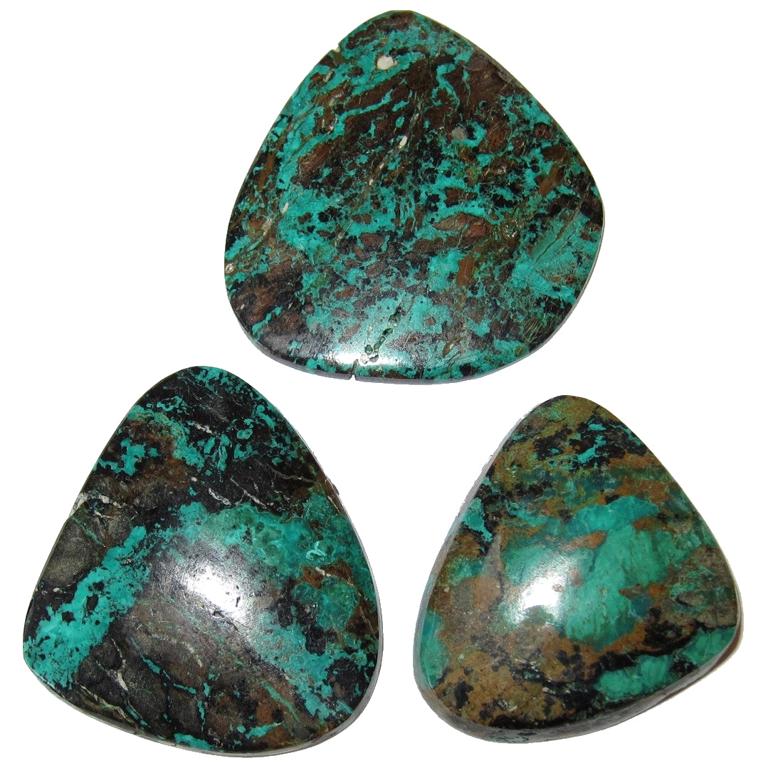 "Chrysocolla Cabochon 1.5"" Collectible Set of 3 Stone with Green Malachite, Made in USA C50"