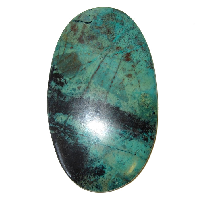 blue-green and black chrysocolla oval cabochon