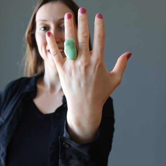 Chrysoprase Ring Big Chunk of Refreshing Green Healing Energy
