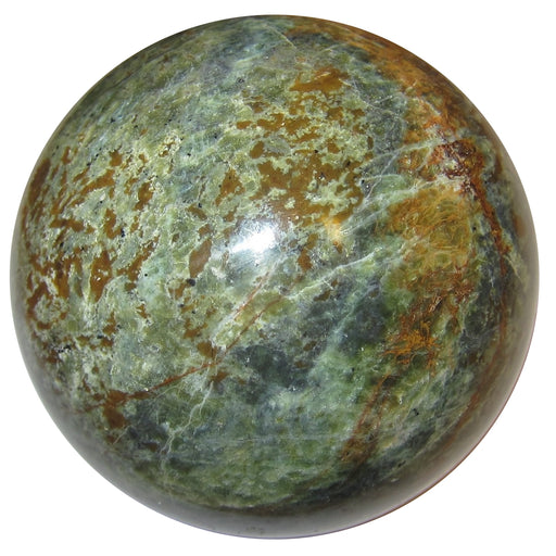 mottled green and brown chrysoprase sphere