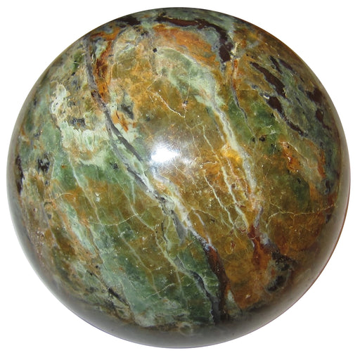 satin crystals stunning green and orange chrysoprase sphere for healing and natural art